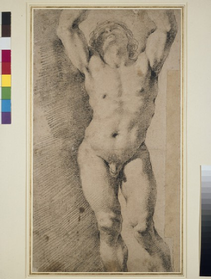 Study of a nude Youth with Arms raised