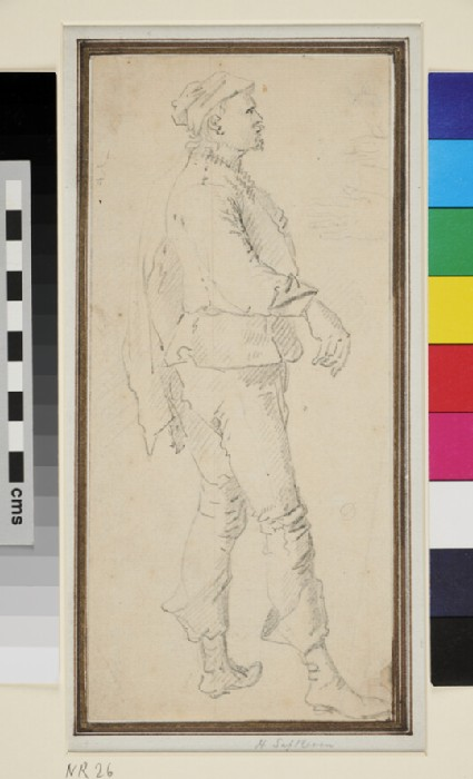 Standing male Figure in profile to right