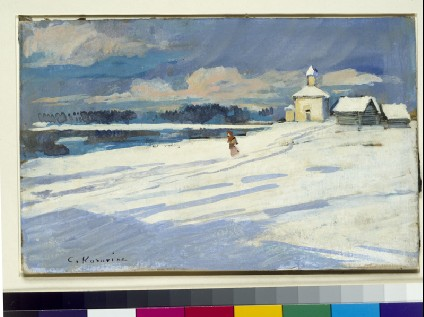 Winter landscape with a small church