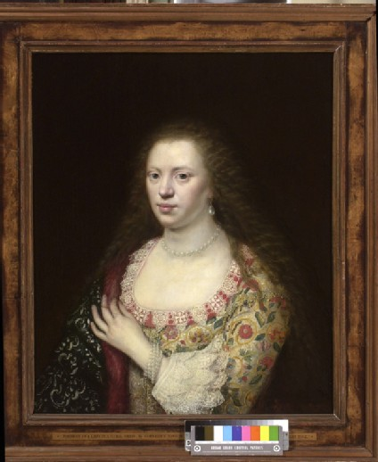 Portrait of a Woman in a Dress worked with Flowers