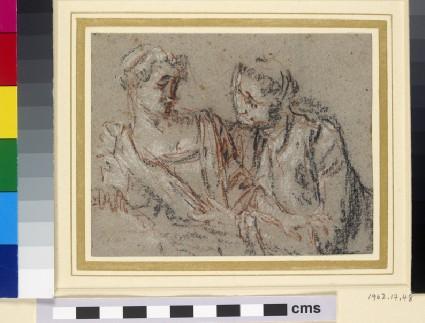 A man leaning towards a girl on the left, both half-length