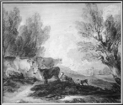 Riverside Landscape with Cattle