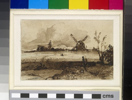Landscape with a Windmill beyond a Cornfield