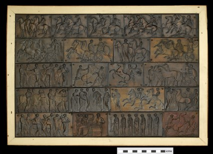 Gods in congress, warriors on parade, and sacrificial procession (from the Parthenon frieze) in 21 separate pieces