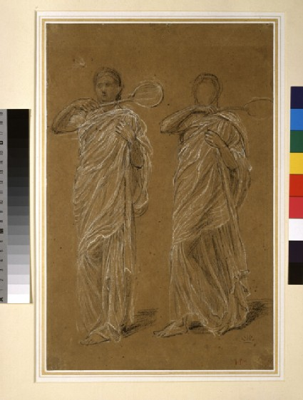 Recto: Two draped Figures: Studies for 'Battledore' and 'Shuttlecock'<br />Verso: One draped Figure