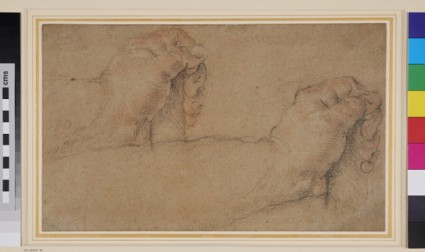 Two Studies of a left Hand grasping a Staff