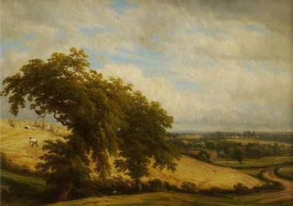 View looking towards Offchurch Bury with Men reaping