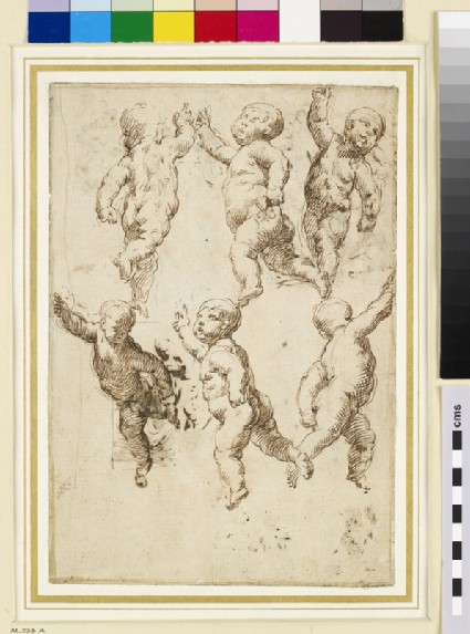 Recto: studies of Putti <br />Verso: eight compositional sketches which include an Adoration, a Crucifixion, and three of Madonna and Child