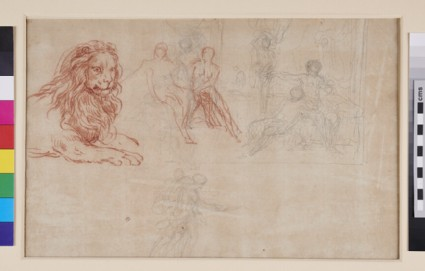 Recto: Studies of a Woman and of Arms and Legs etc.<br />Verso: Studies of a recumbent Lion etc