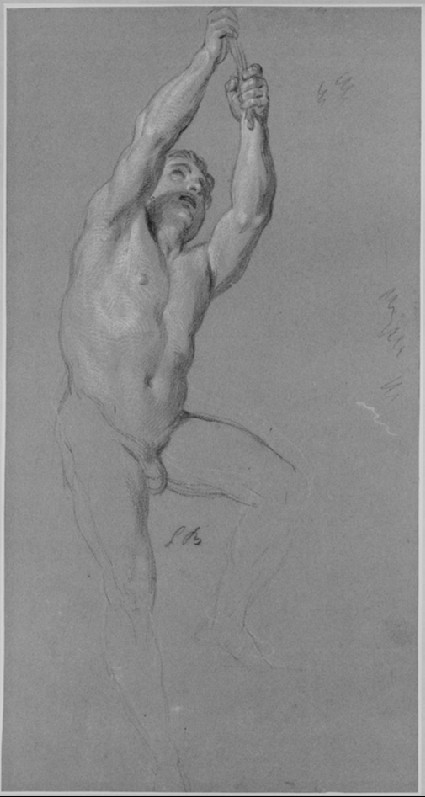 A male nude figure with arms raised to right, grasping a rope