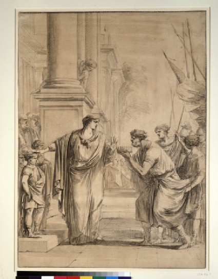 Cornelia, mother of the Gracchi, refusing an offer of marriage from Ptolemy VII of Egypt