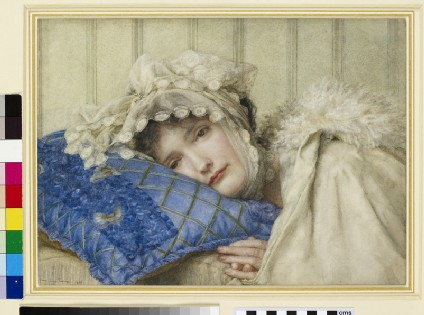 Girl in a Bonnet with her Head on a Blue Pillow