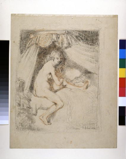 Nude Girl seated on a Bed