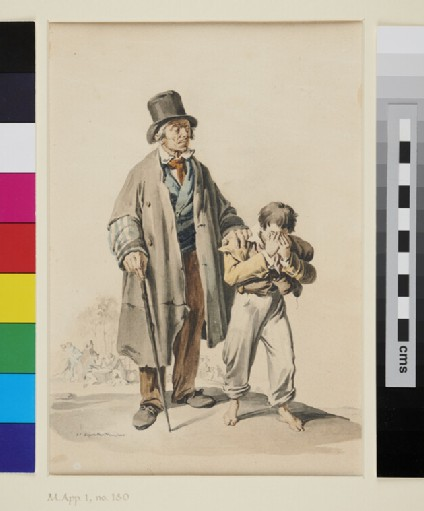Boy leading a blind Man