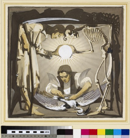 Design for a Title page: Time and Death watching a young Man dissecting a Heron