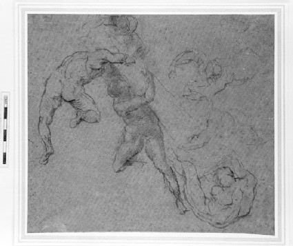 Six nude figures, supporting a column. After Michelangelo