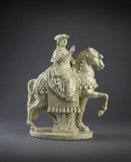 Creamware figure of Pope Pius VI on horseback
