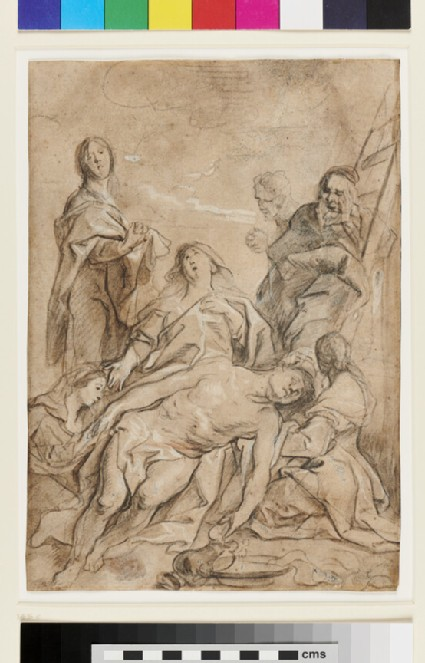 Recto: The Deposition<br />Verso: Studies of Heads, a standing Figure and a slight architectural Sketch