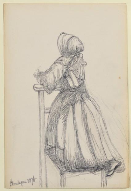 Woman praying, kneeling on a chair