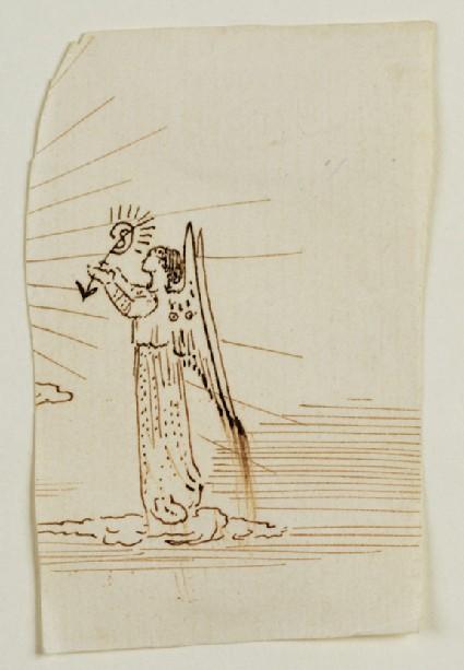 Sketch of an Angel bearing Sophie Dalrymple's Monogram
