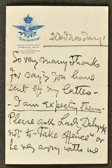 Letter from Ellen Terry to Lizzie Potton