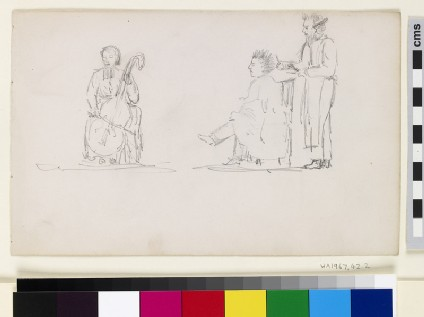 Recto: Caricature Studies of a Cellist and a Man having his Hair cut  