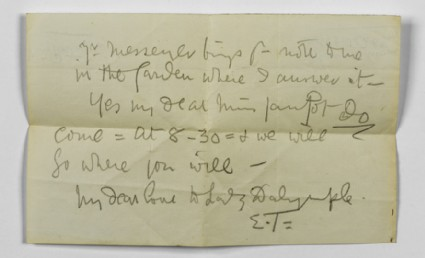 Note from Ellen Terry to Lizzie Potton: 'Mr Messenger brings your note to me in the Garden where I answer it'