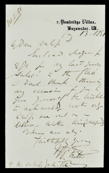 Letter from William Powell Frith, 7 Pembridge Villas, Bayswater, to Walter William Ouless