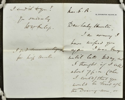 Letter from Walter William Ouless, 12 Bryanston Square, London, to Lady Hunter
