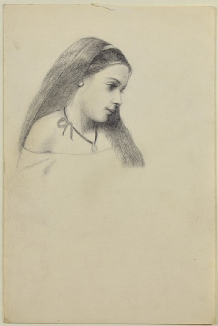 Head of a young girl in profile, facing right