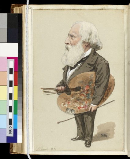 Full-length caricature portrait of J.F. Lewis, R.A., looking to left, holding a palette and brushes