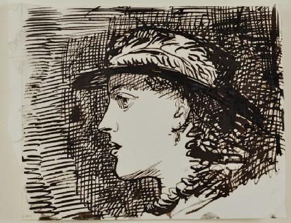 Head of a Woman in Profile, wearing a Hat