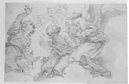 Recto: Group of Angels<br />Verso: Tracing of the Angel on the right of the Recto