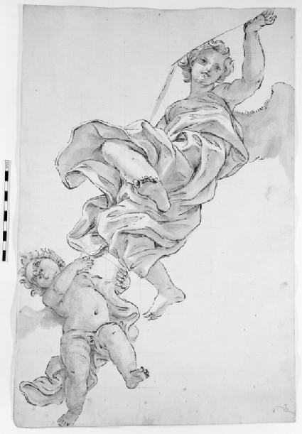 Flying Angel with a Cherub