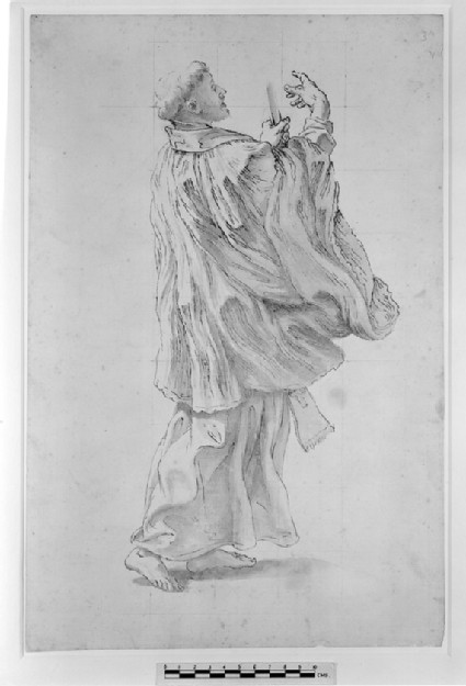 Recto: Study of a Priest<br />Verso: Group of Figures, including a Girl carrying a Salver and Vessel