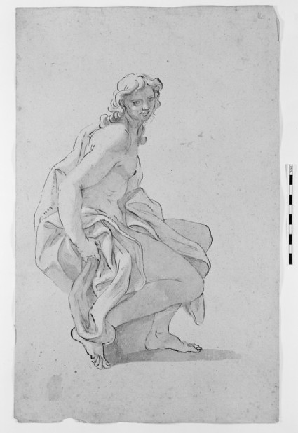 Recto: Young Man seated<br />Verso: Two Drapery Studies