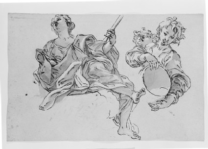Recto: Studies of a seated female Figure and of a Child with a Vessel