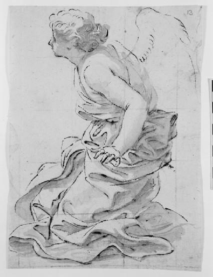 Recto: Kneeling Angel<br />Verso: Fragment of Drapery