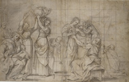 Recto: The Birth of the Baptist<br />Verso: Studies of two pairs of legs