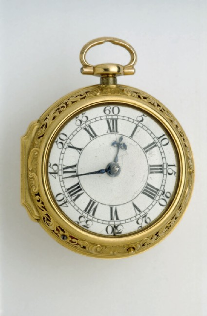 Gold pair-cased cylinder watch with quarter repeat