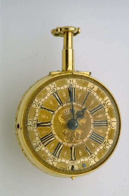 Gold and stone-set mother-of-pearl pair-cased quarter-repeating verge watch with en-suite châtelaine
