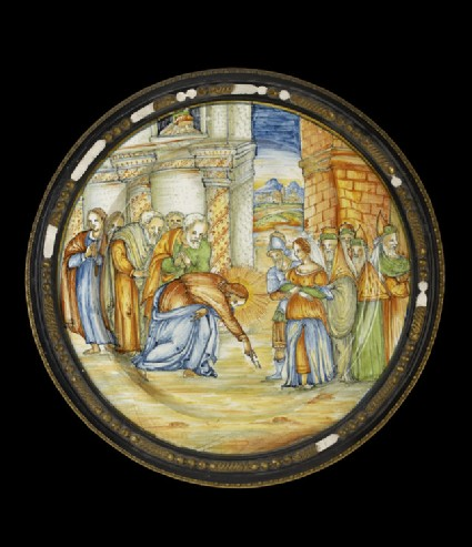 Plate, Jesus and the woman taken in adultery