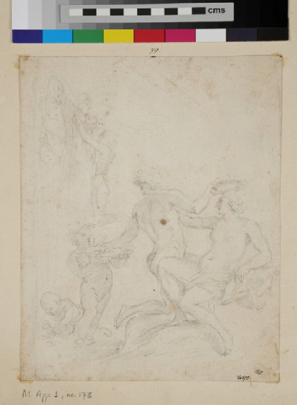 Mythological subject with a female figure being crowned