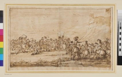 Cavalry Engagement with a Group of Horsemen standing in reserve below a Fortress on a Hill, right