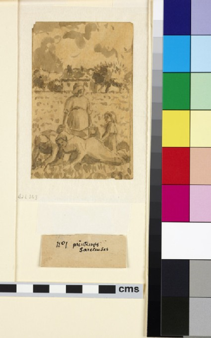 Compositional study of three female peasants with a child weeding in a field