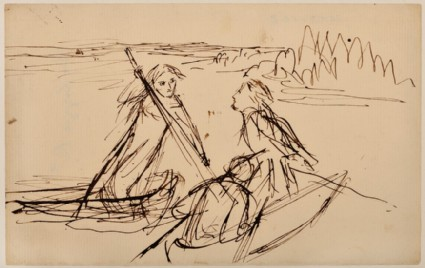 Two men in a boat and a woman punting