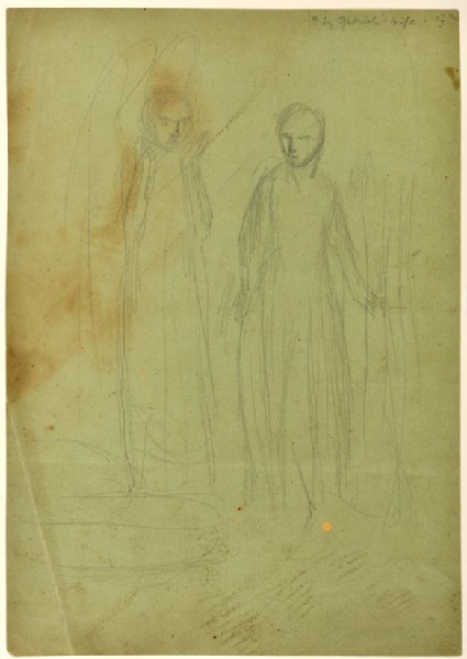Recto: Study for 'The Annunciation'<br />Verso: Sheet of Studies