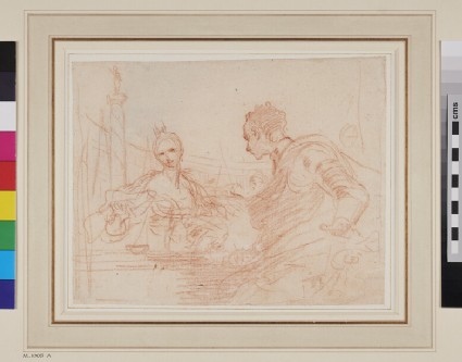 Recto: Antony and Cleopatra<br />Verso: Upper half of a male head