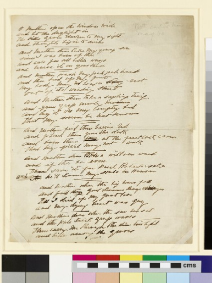 Manuscript sheet of poetry: O Mother open the window wide and let the daylight in