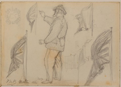 Recto: studies of a standing man and Union flag for 'Walton-on-the-Naze' 